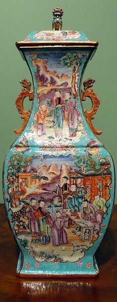 1780A Large Chinese Export Famille Rose Mandarin Palette Covered Vase