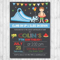 Water Slide Birthday Party Invitation Water by funkymushrooms