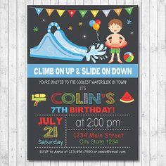 Water Slide Birthday Party Invitation Water by funkymushrooms