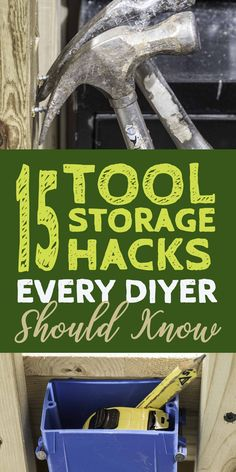 Tool Storage Ideas: 15 Clever Ways to Organize Tools (So You Can Find Them) These DIY tool storage ideas are the best tool organization ideas I've found! They'll fit in a small area of your garage or even an apartment and are so easy to do. Pegboard Storage, Garage Tool Storage, Garage Tools, Diy Garage, Shed Storage, Storage Hacks, Garage Organization, Storage Ideas, Organization Ideas