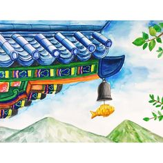 Art For Kids, Crafts For Kids, Small Drawings, Korean Art, Art Lessons, Art Projects, Tower, Watercolor, Illustration