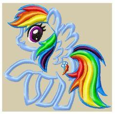 Photo of Rainbow Pony Embroidery Applique Design