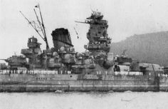 Midships detail of 18 in Japanese super-battleship Yamato: at well over 70000 tons she and sister Musashi were much the largest battleships ever built. Both were lost to sustained air attacks late in WW2: definitively the end of the 'big gun' era.