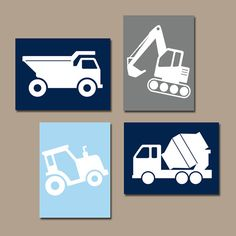 CONSTRUCTION Wall Art CANVAS or Prints Dump Truck by TRMdesign