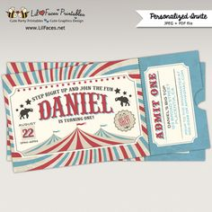 Retro Vintage Circus Carnival Birthday Party Printable Ticket Invitation