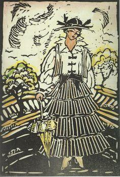 * Blouse and skirt linocut by Grete von Noë Mode Wien 1914/15