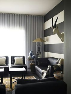 I like the striped wall and the curtains on the entire wall!