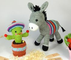 Dante and Carlos Crochet Pattern (Available in English or French language)  Dante the Donkey and Carlos the Cactus are an unlikely but very loyal