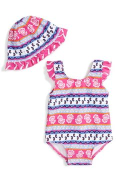 Tucker + Tate One-Piece Swimsuit & Sun Hat (Baby Girls) available at #Nordstrom
