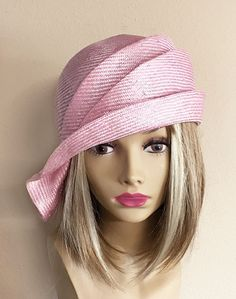 Ava parasisal straw side drape millinery hat women straw