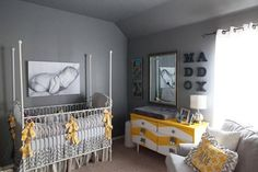 More yellow and grey styling! The antique cot is beautiful, we have a similar one in stock now!