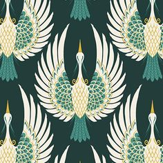 Green Art Deco Crane Bird Pattern Wallpaper | Hovia