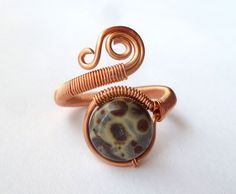 Adjustable copper Wire Wrapped Ring // Orbicular Jasper gemstone ring // wire wrapped jewelry handmade // copper jewelry