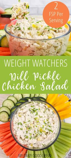 Healthy Dill Pickle Chicken Salad is a delicious low carb chicken salad. Dill Pickle Chicken Salad is a low carb snack. Similar to Chick-Fil-A chicken salad, enjoy this as a dip, sandwich, or salad topping. Salade Weight Watchers, Poulet Weight Watchers, Plats Weight Watchers, Weight Watchers Meals, Weight Watchers Appetizers, Low Carb Chicken Salad, Chicken Salad Recipes, Weight Watcher Chicken Salad Recipe, Healthy Chicken