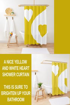 If you want to brighten up your bathroom home decor this yellow and white heart shower curtain can do that. This is one of those shower curtain ideas that is creative and brings some life and color to a bathroom. Elegant Shower Curtains, Curtain Ideas, Yellow Print, Program Design, Pattern Design, Bathroom, Abstract, Heart, Creative