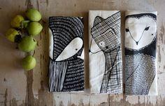 Tea Towel Bundle 3 Forest Animal Tea Towels Printed by Gingiber
