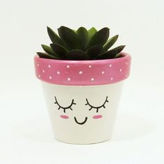 Succulent Planter Terracotta Pot Cute Face Planter Air Plant Holder Plant Pot Flower Pot Indoor Planter Kawaii from TimberlineStudio on Etsy Flower Pot Crafts, Clay Pot Crafts, Diy And Crafts, Flower Pot Art, Painted Plant Pots, Painted Flower Pots, Decorated Flower Pots, Pots D'argile, Clay Pots