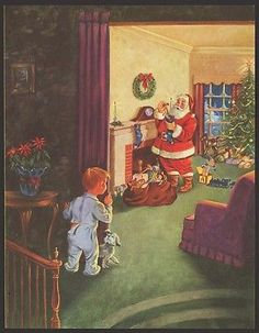 would be so cute as framed wall art!  VINTAGE 1950'S LITTLE BOY CATCHES SANTA FILLING STOCKINGS PRINT - HINKE? - CUTE!