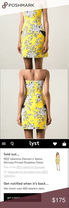 RED Valentino Mimosa Printed Strapless Dress Yellow dress with white flower print and black accents. Super cute! Make an offer  RED Valentino Dresses