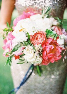 Summer Sparkle - Peony and Sequin Wedding Ideas in Coral, Ivory, and French Blue #peony #bouquet #sequins #weddingdress #floraldesign
