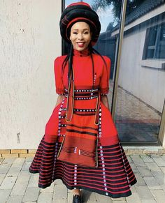 Do you want to craft a long gown from your African fabrics and don't have an idea of where to start or what to make? Then this LOVELY XHOSA ATTIRE is for you. South African Traditional Dresses, Traditional Fashion, Traditional Outfits, African Print Skirt, African Print Dresses, African Prints, Xhosa Attire, African Attire, African Dresses For Women