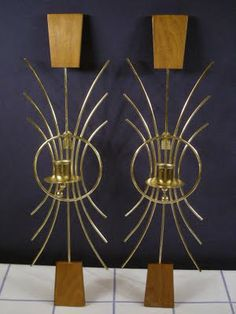 Wood and brass candle sconces