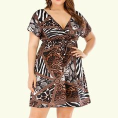 Plus Size Women Dress Summer Short Sleeve Print Casual Party Boho Dress Casual V Neck Belt Lace Up Tunic Draped Plus Size Dress Casual Dresses Plus Size, Dress Plus Size, Plus Size Casual, Dress Casual, Casual Outfits, Mini Party, Women's Plus Size Shorts, Summer Dresses For Women, Dress Summer