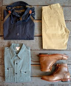 Nigel Cabourn - Ventile Aircraft Jacket  The Real McCoys - Double Diamond Trousers  The Real McCoys - Double Diamond Chambray Work Shirt  Oak Street Bootmakers - Leather Sole Cap Toe Trench Boot  Great Kit.
