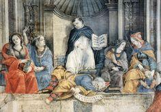 "1489-1491 - ""The Triumph of Saint Thomas Aquinas over the Heretics"" by Fra Filippino Lippi - Capella Carafa. The Carafa Chapel is a chapel in the church of Santa Maria Sopra Minerva in Rome, Italy, known for a series of frescoes by Filippino Lippi"
