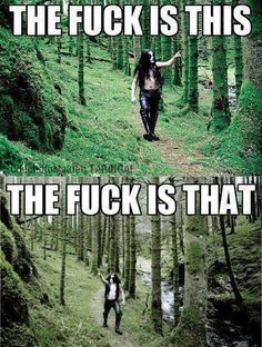 "Abbath Immortal Norwegian Black Metal ""walks in the woods"". Oh this is from The Chive? Probably originally Reddit posts."