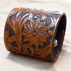 Leather wide cuff Bracelet Hand tooled by mataradesign on Etsy, $350.00
