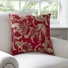 """Birch Lane Vivi Pillow Cover - This is a cotton pillow cover, but it has a french look to it. I kind of think 2 of these pillows would be pretty on the """"sand"""" leather sofa I'm thinking of ordering. I'd like it with the Catalina Tuscan Table Lamp with red empire shade, because the designs and colors are similar."""