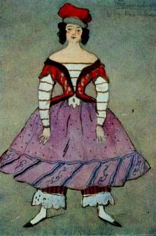 "Alexandre  Benois' design for the Ballerina's costume for ""Petrushka"" -  a Ballets Russes production that premiered in 1911"