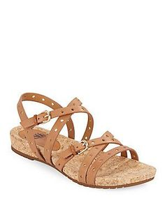 Sofft Malana Perforated Leather Sandals - Luggage - Size 7