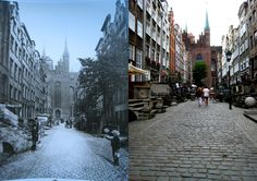 Mariacka Street, Gdansk, Poland in 1894 (by E. Mertens) and in 2016