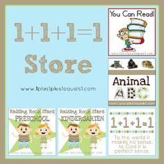 http://www.1plus1plus1equals1.net/2012/09/preschool-tot-and-kindergarten-packs/