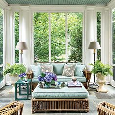 Elegant Colonial Porch - Porch and Patio Design Inspiration - Southern Living. I love this porch! From the bluestone floors to the columns to the beaded ceiling. Jane Schwab, Circa Interiors and Antiques, Jane Schwab Charlotte NC Design Seeds, Sunroom Decorating, Decoration Inspiration, Design Inspiration, Decor Ideas, Decorating Ideas, Natural Home Decor, Deco Design, Design Design