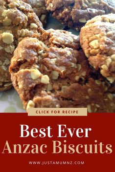 These are the best ever Anzac biscuits This recipe is the perfect blend of chewy on the inside and crunchy on the outside Delicious flavours of brown sugar golden syrup oats and butter These are so fun to make for New Zealand and Australia on Anzac Day Easy Anzac Biscuits, Oatmeal Biscuits, Chocolate Biscuits, Oatmeal Cookies, Baking Recipes, Cookie Recipes, Dessert Recipes, Baking Blogs, Fun Recipes