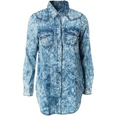 Noisy May Julie Denim Shirt ($42) ❤ liked on Polyvore featuring tops, shirts, blouses & shirts, denim blue, womens-fashion, denim snap shirt, blue button shirt, blue collared shirt, cuff shirts y snap button shirts