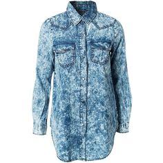 Noisy May Julie Denim Shirt ($34) ❤ liked on Polyvore featuring tops, shirts, blouses & shirts, denim blue, womens-fashion, snap button shirts, denim snap shirt, blue shirt, button collar shirt and shirt top