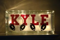 Boys room night light/glass block-Sports-Basketball-Football-Customize it-Vinyl lettering