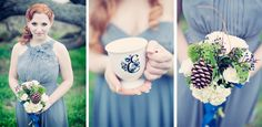 pinecones, ivory and green flowers and navy blue privet berries