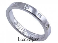 From www.brentjess.com - Five Diamonds Fingerprint Wedding Ring with Interior Tip Print In Sterling Silver - 3mm - Custom handmade fingerprint jewelry by Brent&Jess