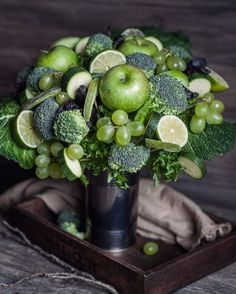 Apples & broccoli #floral #wedding #table #centrepiece