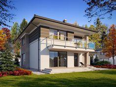 DOM.PL™ - Projekt domu TP Enes CE - DOM TP2-48 - gotowy koszt budowy Modern Architecture House, Modern House Design, House Outside Design, Design Case, House Plans, Mansions, House Styles, Home Decor, Future
