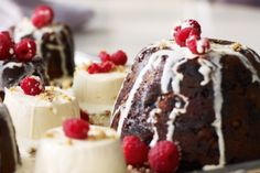 Give the traditional elements of Christmas a modern twist with these elegant festive puddings. To Prep. To Cook. Christmas Deserts, Christmas Lunch, Christmas Pudding, Christmas Cooking, Christmas Recipes, Christmas Time, Christmas Ideas, Xmas Food, Christmas Cakes