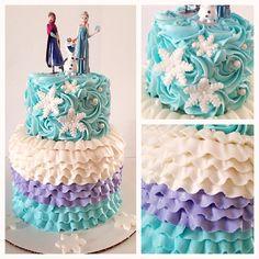 Frozen cake with buttercream rosettes and buttercream ruffles