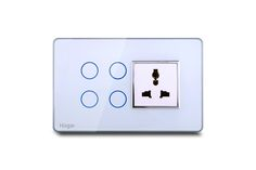 Hogar Controls Designer Smart Touch Switch Panels - z-wave zigbee - 4 touch plus universal socket White on Gray with silver bazzle front view