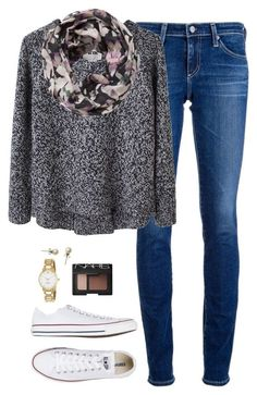 Getting there. by northern-prep on Polyvore featuring Acne Studios, AG Adriano Goldschmied, Converse, Kate Spade, J.Crew, Pieces and NARS Cosmetics