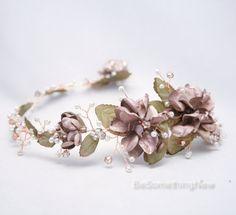 Rose oro Floral pelo vid de cableado flores por BeSomethingNew